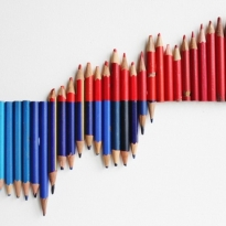 Degrees, 2010 (used blue, blue-and-red, red pencils)